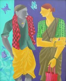 Abhiram Bairu | Acrylic Painting title Talking Couple on Canvas | Artist Abhiram Bairu Gallery | ArtZolo.com