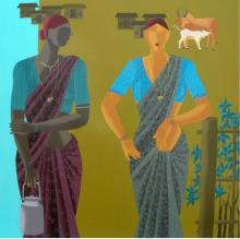 Abhiram Bairu | Acrylic Painting title The Women on Canvas | Artist Abhiram Bairu Gallery | ArtZolo.com