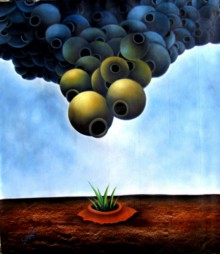 Pots/Vessels Oil Art Painting title 'Ankur II' by artist Ranchhor Meghwal