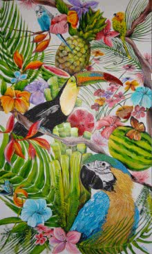 Francesca Monico Paintings | Acrylic Painting - Tropical Summer by artist Francesca Monico | ArtZolo.com