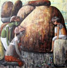 Suruchi Jamkar | Acrylic Painting title A Game For Three on Canvas | Artist Suruchi Jamkar Gallery | ArtZolo.com