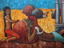 Suruchi Jamkar | Oil Painting title Playful Conversation on Canvas | Artist Suruchi Jamkar Gallery | ArtZolo.com