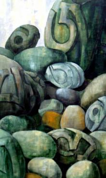 Suruchi Jamkar | Acrylic Painting title Prayer Rocks on Canvas | Artist Suruchi Jamkar Gallery | ArtZolo.com