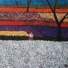 Suruchi Jamkar | Acrylic Painting title Girl In Flower Fields on Canvas | Artist Suruchi Jamkar Gallery | ArtZolo.com