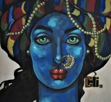 Portrait Acrylic Art Painting title 'Blue Girl With A Nose Ring' by artist Suruchi Jamkar