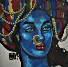 Portrait Acrylic Art Painting title 'Blue Girl With A Nose Ring 2' by artist Suruchi Jamkar