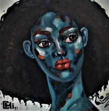 Portrait Acrylic-oil Art Painting title 'Expression 3' by artist Suruchi Jamkar