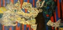 Figurative Acrylic Art Painting title 'Fluttering' by artist Suruchi Jamkar