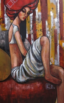 Suruchi Jamkar | Acrylic Painting title Girl In A Red Turban on Canvas | Artist Suruchi Jamkar Gallery | ArtZolo.com