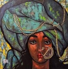 Portrait Acrylic Art Painting title 'Girl In A Turban 1' by artist Suruchi Jamkar