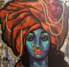 Portrait Acrylic Art Painting title 'Girl In A Turban 2' by artist Suruchi Jamkar