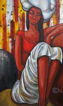 Suruchi Jamkar | Acrylic Painting title Girl In A White Turban on Canvas | Artist Suruchi Jamkar Gallery | ArtZolo.com