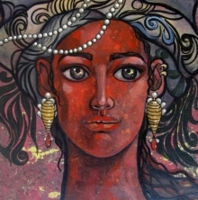 Suruchi Jamkar | Acrylic Painting title Girl With Bright Eyes 2 on Canvas | Artist Suruchi Jamkar Gallery | ArtZolo.com