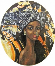 Suruchi Jamkar | Acrylic Painting title Girl With Pearls on Oval Canvas | Artist Suruchi Jamkar Gallery | ArtZolo.com