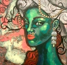 Suruchi Jamkar | Acrylic Painting title Green Girl In A Turban 2 on Canvas | Artist Suruchi Jamkar Gallery | ArtZolo.com