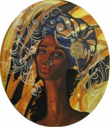 Suruchi Jamkar | Acrylic Painting title Reflection on Oval Canvas | Artist Suruchi Jamkar Gallery | ArtZolo.com