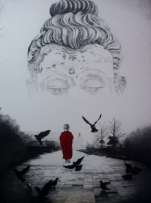 Religious Pen-ink Art Drawing title 'Buddha' by artist Dhananjay Thakur