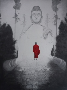 art, beauty, drawing, pen, ink, canvas, religious, gautama buddha