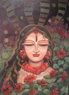 Figurative Mixed-media Art Painting title 'Devi II' by artist DEVIRANI DASGUPTA
