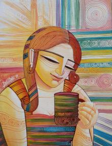 Figurative Acrylic Art Painting title 'First Cuppa' by artist DEVIRANI DASGUPTA