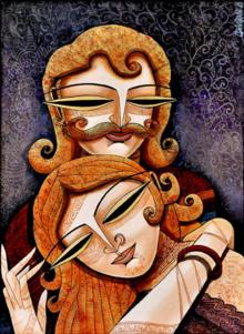 Figurative Acrylic Art Painting title King Queen I by artist DEVIRANI DASGUPTA