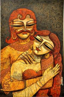 Figurative Acrylic Art Painting title 'King Queen II' by artist DEVIRANI DASGUPTA