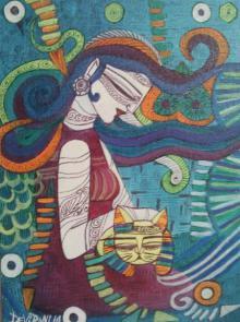 Figurative Acrylic Art Painting title 'Love' by artist DEVIRANI DASGUPTA