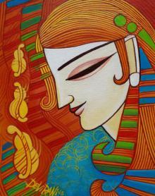 Figurative Acrylic Art Painting title 'Melody' by artist DEVIRANI DASGUPTA