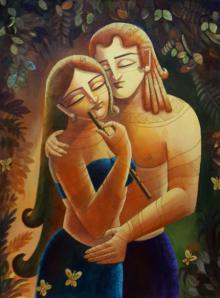 Figurative Acrylic Art Painting title 'Radha Krishna II' by artist DEVIRANI DASGUPTA