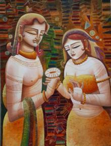 DEVIRANI DASGUPTA | Acrylic Painting title Radha Krishna III on Canvas Board | Artist DEVIRANI DASGUPTA Gallery | ArtZolo.com