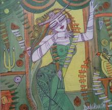 Figurative Acrylic Art Painting title 'Queen I' by artist DEVIRANI DASGUPTA