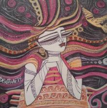 Figurative Acrylic Art Painting title 'Queen II' by artist DEVIRANI DASGUPTA