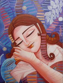 Figurative Acrylic Art Painting title 'Queen III' by artist DEVIRANI DASGUPTA