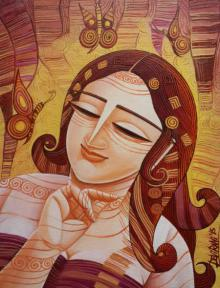 Figurative Acrylic Art Painting title 'Queen IV' by artist DEVIRANI DASGUPTA