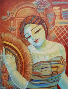 Figurative Acrylic Art Painting title 'Queen V' by artist DEVIRANI DASGUPTA