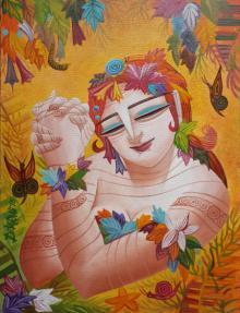 Figurative Acrylic Art Painting title 'Queen VI' by artist DEVIRANI DASGUPTA