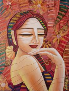 Figurative Acrylic Art Painting title 'Queen VII' by artist DEVIRANI DASGUPTA