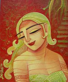 Figurative Acrylic Art Painting title 'She' by artist DEVIRANI DASGUPTA