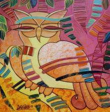 Figurative Acrylic Art Painting title 'The Owl' by artist DEVIRANI DASGUPTA