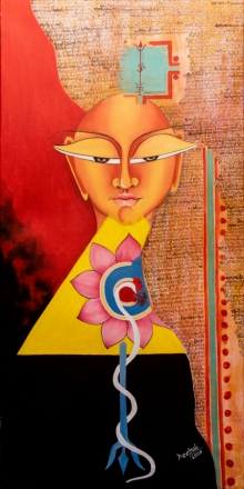 contemporary Acrylic-oil Art Painting title 'Me & myself' by artist Deepali Mundra