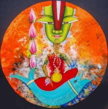 contemporary Acrylic-oil Art Painting title 'Virat' by artist Deepali Mundra