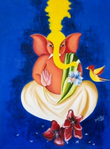Ganesha | Painting by artist Deepali Mundra | acrylic-oil | Canvas