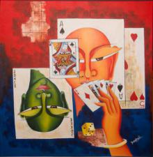 Deepali Mundra | Acrylic Painting title Poker Face on Canvas | Artist Deepali Mundra Gallery | ArtZolo.com