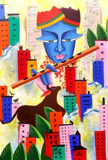 Deepali Mundra | Acrylic Painting title Rhythm Of Life on Canvas | Artist Deepali Mundra Gallery | ArtZolo.com