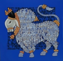 Animals Acrylic Art Painting title 'Nandi 25' by artist Vivek Kumavat