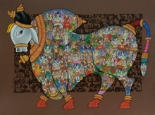 Animals Acrylic Art Painting title 'Nandi 32' by artist Vivek Kumavat