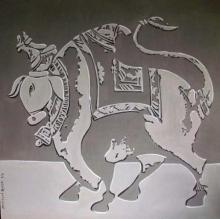 Animals Acrylic Art Painting title 'Bull Shadow' by artist Vivek Kumavat