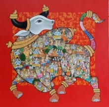 Animals Acrylic Art Painting title 'Nandi 38' by artist Vivek Kumavat
