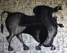 Animals Acrylic Art Painting title 'The Grey Bull' by artist Vivek Kumavat