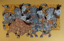 Dancing Nandis 5 | Painting by artist Vivek Kumavat | acrylic | Canvas